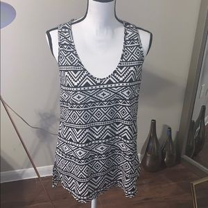 West Kei Black and White Tribal Blouse.  Size M